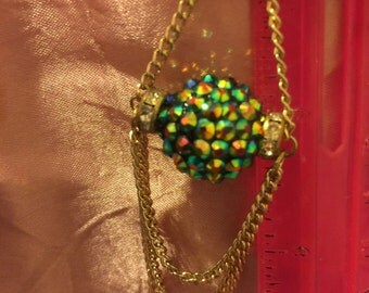 Sale!Spinning! Disco ball earrings long dangling chains gold tone Green/Movable! disco balls: Touch them to make them spin!