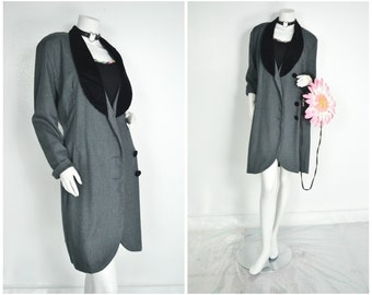 90s Rampage black collar grey trench pea coat