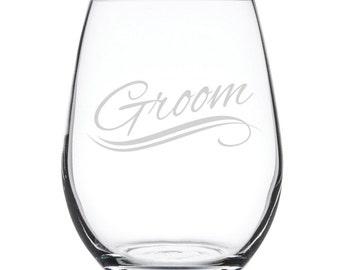 Stemless White Wine Glass-17 oz.-7834 Groom