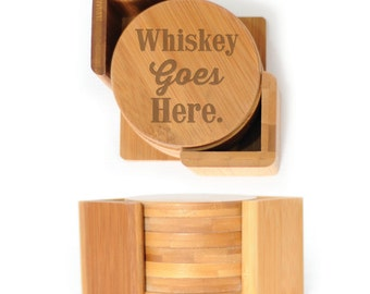 Wooden Round Coasters - Set of 6 with holder - 2507 Whiskey goes Here