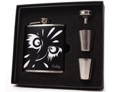Personalized flask, owl flask gift set for men and women