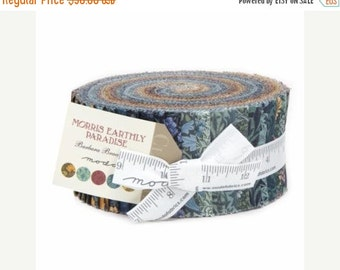 ON SALE - Morris Earthly Paradise Jelly Roll 2.5 inch fabric strips (40 pieces) - by Barbara Brackman for Moda Fabrics