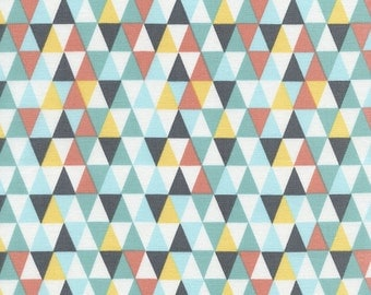 TRIANGLE GEO in Aqua  C4610 - By Alice Kennedy for Timeless Treasures Fabric - By the Yard
