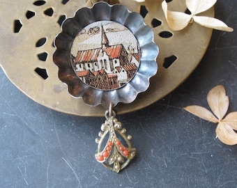 Tin Brooch, European Town, Cookie Tin Find, Altered Jewelry