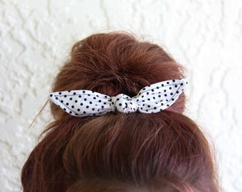 Hair Bow Knotted Bun Clip Hair Bows White with Black Dots Girl Teen Women Hair Accessory French Barrette Alligator Clip Hair Ties Rockabilly