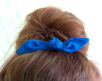 Knotted Bun Clip Hair Bows Royal Blue Solid Color Hair Bow Girl Teen Women Hair Accessory French Barrette Alligator Clip Hair Ties
