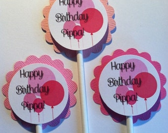 Happy Birthday Cupcake Toppers - Balloon Cupcake Toppers - Balloon Theme