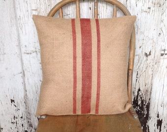 Burlap Rustic Red Striped Pillow Grain Sack Accent Pillow Cover by janes plan