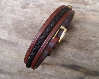 "Horse Hair Leather Bracelet with Solid Brass Buckle - 1/2"" Horsehair Cuff"