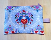 Zipper pouch - blue with owls and foxes