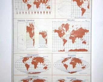 The world denoyer geppert map reading series. world wall pulldown school map chart wall hanging