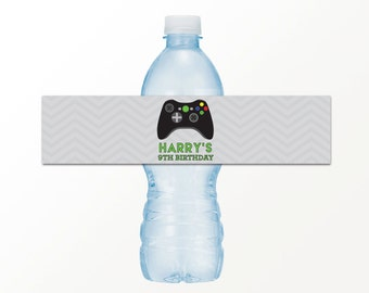 Video Game Birthday Party Drink Labels  - PRINTED or PRINTABLE Water Bottle Label by 505 Design, Inc