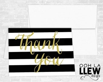 Black and Gold Thank You Cards
