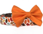 Fall Dog Collar Bow Tie / Thanksgiving Dog Collar / Autumn Dog Collar / Fall Leaves Dog Collar / Dog Bowtie / Orange Brown Dog Bow Tie