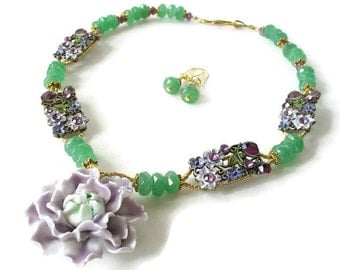 CLEARANCE SALE - Floral Statement Necklace, Bold Chunky Necklace, Flower Pendant, Lavender & Emerald Green, Nature Inspired Necklace