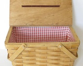 Vintage Wooden Picnic Basket with Red Gingham Lining // Rustic // Country // Beach // Decor // Spring // Summer
