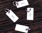 Sterling Silver .925 Halmark Tags - 10 Rectangle Stamping Blanks - C92