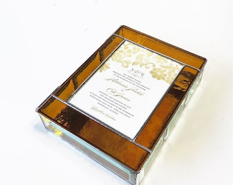RESERVED for LORI Stained Glass Keepsake Gift Box 7x9x2 Wedding Invitation Custom Made
