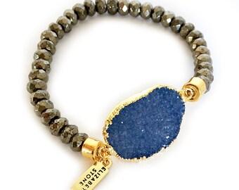 SALE! Lust Bracelet - Pyrite & druzy bracelet, Druzy Bracelet, Druzy Stretch bracelet