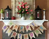 Birthday Banner, Burlap Birthday Sign, Happy Birthday Sign, Birthday Bunting, Circus Birthday, Circus Party, Burlap Happy Birthday Banner