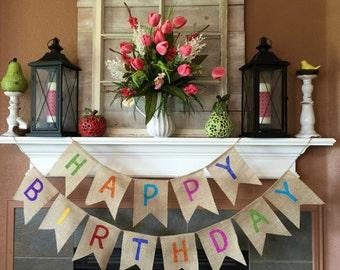 Happy Birthday Banner, Birthday Banner, Burlap Birthday Banner, Birthday Bunting, Birthday Party, Birthday Decoration, Happy Birthday Sign