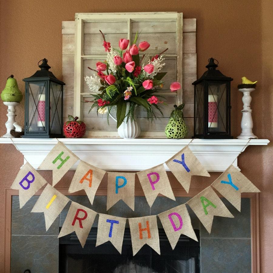 Happy Birthday Banner Birthday Banner Burlap Birthday