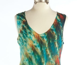 XL Silk Chiffon Shibori Bias Tank Top Malachite Size XL