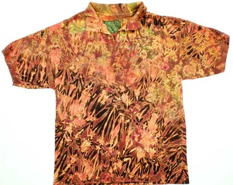 L Shibori Men's Polo Shirt Tiger Tie Dye Polo