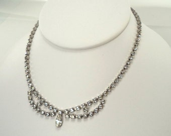 KRAMER Crystal Rhinestone Choker Necklace Signed