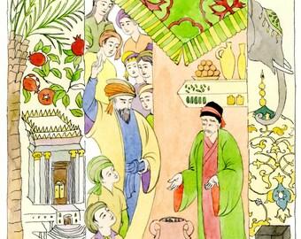 Original watercolor-Arabian Nights-Ali Cogia