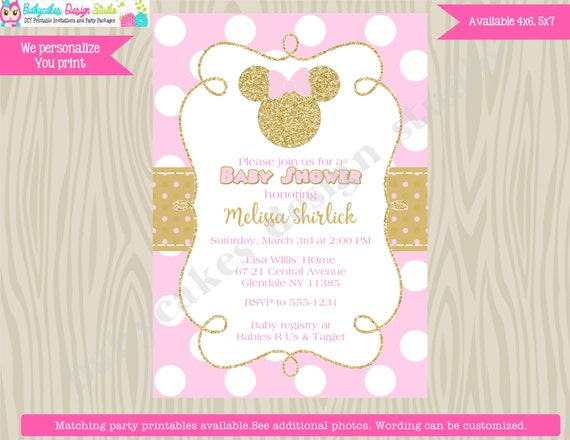 Minnie Mouse Baby Shower Invitation Invite Pink and Gold Minnie Baby