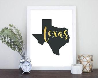 Texas print - Texas poster - Texas art - Texas wall art - Gold Foil Texas - Printable Digital