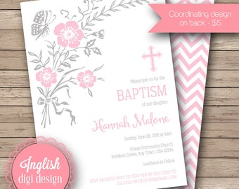 Printable Butterfly Baptism Invitation, Cross Baptism Invite, Girl Baptism Invitation, Baptism Invite - Floral Baptism in Pink, Gray & White