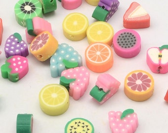Polymer Clay Beads Assorted Colors Fruit Beads 7mm-12mm 20 pieces Wholesale Beads