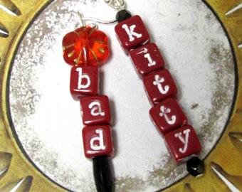 Bad Kitty. Playful Cat Lovers Earrings. Red Cube Letters. Red Flower. Fun Cat Earrings.