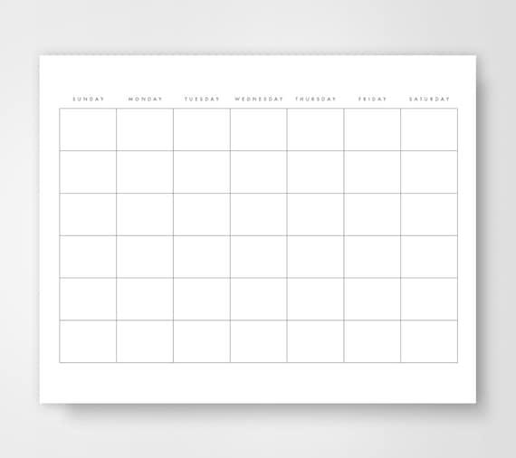 Blank Calendar, Calendar Printable, Simple Calendar, Journal Calendar ...