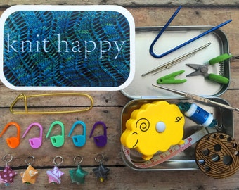 Knitter's Tool Tin - Knit Happy - Knit kit tin with knitting and notions for your WIP bag!