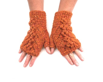 Orange Tweed Lace Fingerless gloves, 100% wool with bobbles , gift for her , winter accessory , featured in Simply Knitting magazine 143