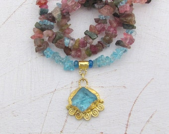 Apatite, Tourmaline & 24k gold Necklace - Colorful Gold Necklace - Rough Apatite Necklace - Statement Necklace