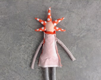 Cloth Doll Fabric Doll - Softie Modern rag doll with cool orange spikes haircut in gray floral dotted & stripes. timo handmade eco eco doll