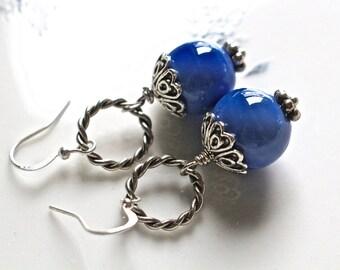 Reclaimed Vintage Earrings, Pierced, Opaque Glass, Silver Filigree, Braided Silver, 12 mm, Blue, Periwinkle, Jennifer Jones, OOAK, Blue Moon