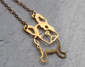 Pug Dog Necklace ... Geometric Gold Pendant French Bulldog