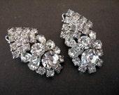 Vintage Large Clear Rhinestone Earrings - Wedding Bridal