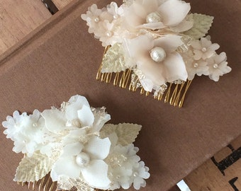 Blush and gold hair comb, ivory and gold hair comb, decorative comb, wedding comb, soft gold, vintage style comb - 'Angelina Comb'