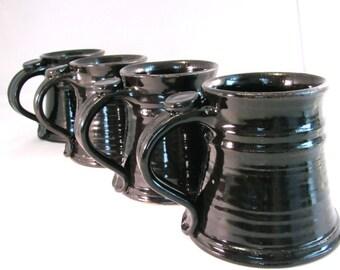 Four 16 oz. Tankards, Steins , Coffee Mugs - Handmade Pottery Glazed in Black