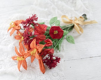 Vintage French Beaded Flowers - Autumn Floral Bouquet