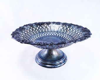 Silver Pedestal Fruit Bowl Catch All by Knickerbocker Silver Co Vintage 30s Upcycle