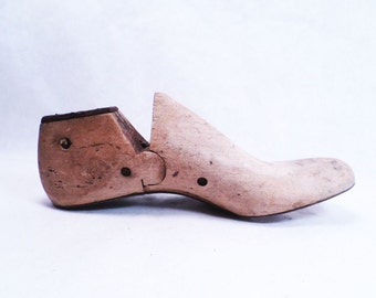 Shoe Form Mold Size 2C Wood and Metal Antique 1900s #4