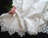 Vintage Linen French Bed Sheet with Embroidery and Lace
