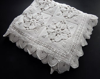 Vintage French Hand Crocheted Bed Coverlet in Intricate Lacy Pattern